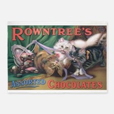 Cats, Chocolates, Vintage Poster 5'x7'Area Rug