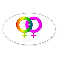 Gay Women Rainbow Symbol Oval Decal