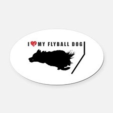 I love my flyball dog Oval Car Magnet