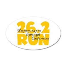 26.2 Run Yellow 20x12 Oval Wall Decal