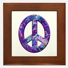 Hippy Peace, purple Framed Tile