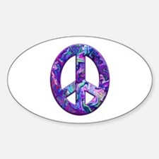 Hippy Peace, purple Oval Decal
