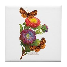 """""""Butterflies with Mums"""" Tile Coaster"""