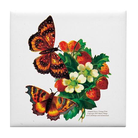 """Butterflies & Berries"" Tile Coaster"