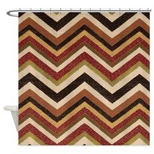 Earthy Orange Burlap Style Zigzags Shower Curtain