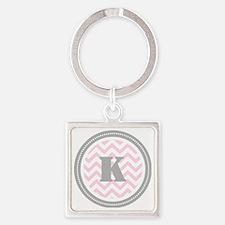 Pink Chevron K Monogram Square Keychain