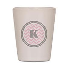 Pink Chevron K Monogram Shot Glass