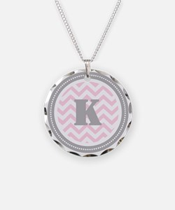 Pink Chevron K Monogram Necklace