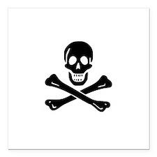 "Skull Crossbones Square Car Magnet 3"" x 3"""