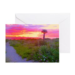 Evening Beach Path To Sunset Greeting Card