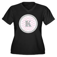 Pink Women's Plus Size V-Neck Dark T-Shirt