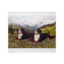 Bernese Mountain Dog Wildflowers Throw Blanket