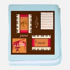 Piano Music Song Clef baby blanket
