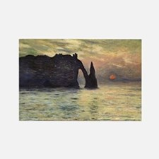 Cliff, Etretat, Sunset by Claude  Rectangle Magnet