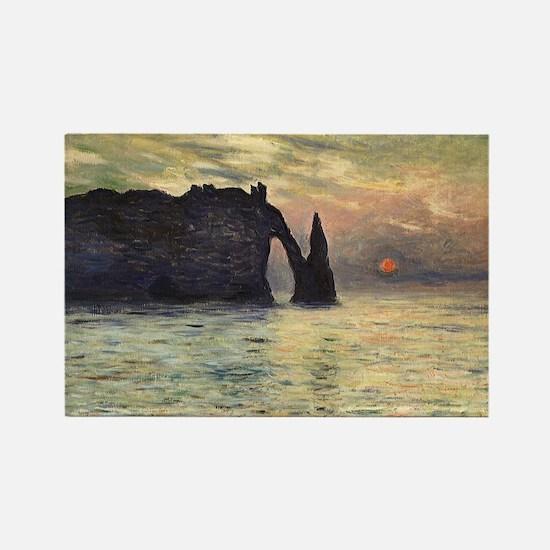 Cliff, Etretat, Sunset by Claude  Rectangle Magnet