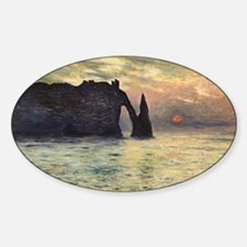 Cliff, Etretat, Sunset by Claude Mo Sticker (Oval)