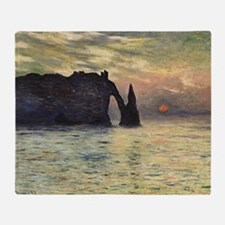 Cliff, Etretat, Sunset by Claude Mon Throw Blanket