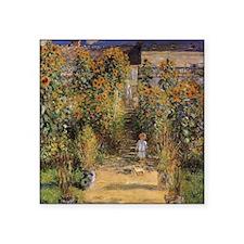 "Artist's Garden at Vetheuil Square Sticker 3"" x 3"""