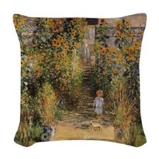 Artist's Garden at Vetheuil by Woven Throw Pillow