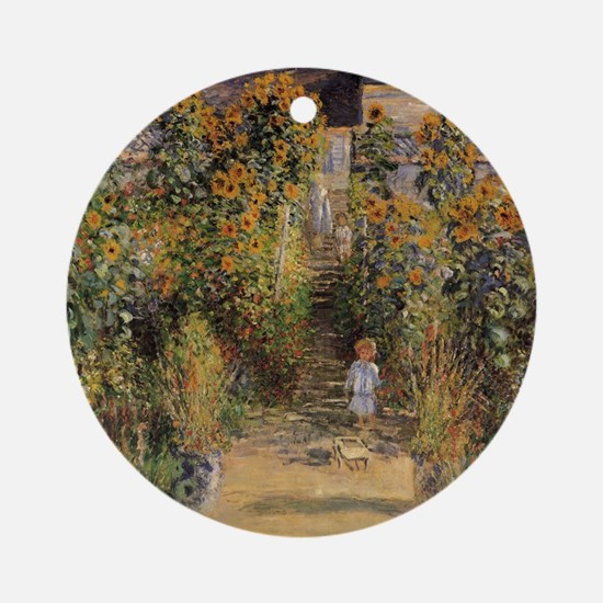Artist's Garden at Vetheuil by Clau Round Ornament