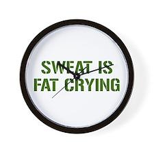 sweat-is-just-fat-crying-gun-green Wall Clock