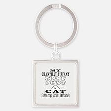Chantilly Tiffany Cat Designs Square Keychain