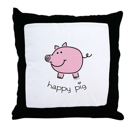 Happy Pig Throw Pillow