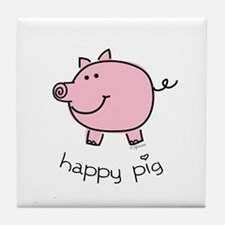 Happy Pig Tile Coaster