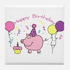 Girl Happy Birthday Tile Coaster