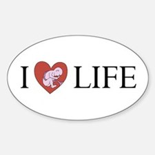 I LOVE LIFE baby heart Oval Decal