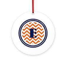 Orange Chevron E Monogram  Round Ornament