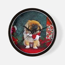 Pekingese Christmas Pumpkin Wall Clock