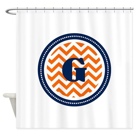 Orange Navy Shower Curtain By TheMonogramStore