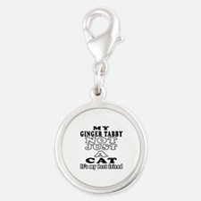 Ginger tabby Cat Designs Silver Round Charm