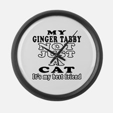 Ginger tabby Cat Designs Large Wall Clock