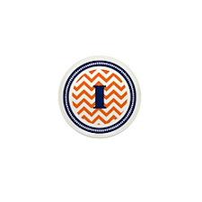 Orange Chevron I Monogram Mini Button
