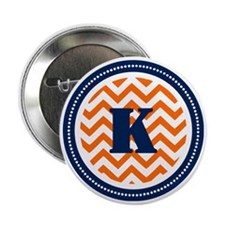 "Orange Chevron K Monogram 2.25"" Button"