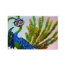 Prissy Peacock Rectangle Magnet