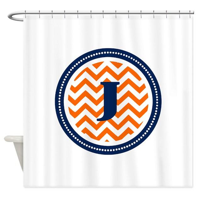 Orange & Navy Shower Curtain by TheMonogramStore