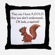ADHD Squirrel Throw Pillow