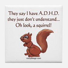ADHD Squirrel Tile Coaster