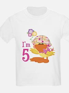 Duckie Girl 5th Birthday Kids T-Shirt