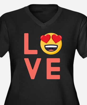 Love Emoji Women's Plus Size V-Neck Dark T-Shirt