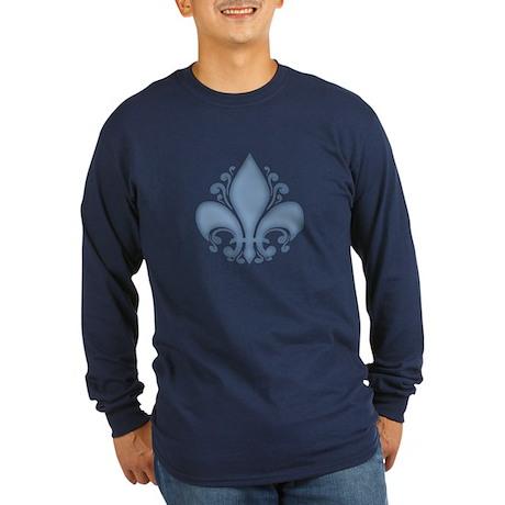 Fleur II -blue Long Sleeve Dark T-Shirt