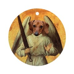 Angel Warrior Dachshund Dog Ornament (Round)