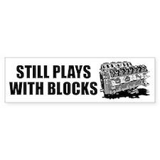 Still Plays With Blocks Bumper Car Sticker