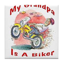Grandpa Biker Tile Coaster