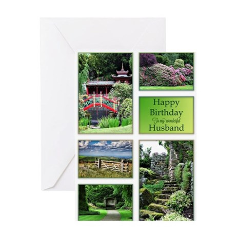 For husband, a birthday card with garden views Gre