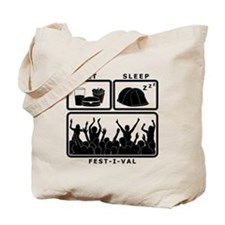 Eat Sleep Festival (black) Tote Bag