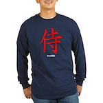 Japanese Samurai Kanji (Front) Long Sleeve Dark T-